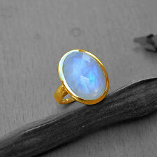 AAA Faceted Rainbow Moonstone 14K Solid Yellow Gold Gift Ring Size 7,Free Sizing