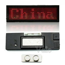 Red LED Programmable Scrolling Name Tag Badge Display Moving Sign Rechargeable
