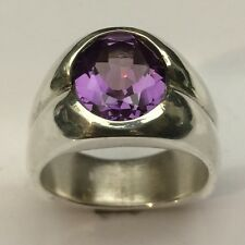 MJG STERLING SILVER MEN'S RING. 12 x 10mm LAB FACETED ALEXANDRITE. SIZE 9.