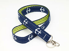 Nautical Key Chain , ID Lanyard, Nurse Badge Strap - navy blue anchor green dots