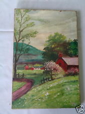 ANTIQUE SIGNED PV MYSTERY ARTIST COUNTRY HILL ROAD HOME CANVAS PAINTING REPAIRED