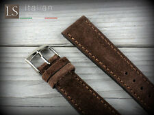 20 mm Genuine Italian Leather LS SUEDE Vintage Watch Strap Band Coffee Brown