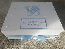 Personalised memory Box New Baby Keepsake Box Baby Shower Blue pram ivory pearls