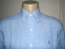 Men's $125. (M) POLO-RALPH LAUREN Sky Blue Linen Shirt