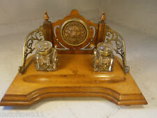 Antique Mahogany Inkwell Stand , Writing , Pen Stand Lion  , 0131