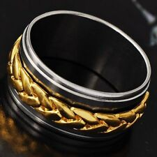 Cool White Stainless Steel Gold Filled Around Chain Mens Band Ring Size 10 Band