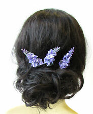 3 x Lilac Purple Lavender Flower Hair Pins Bridal Clip Artificial Wedding 1589