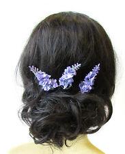 3 x Lilac Purple Lavender Flower Hair Pins Bridal Clip Artificial Wedding 1589