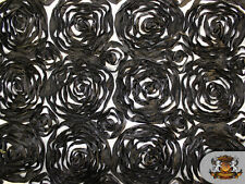 "2 Tone Rosette Satin Fabric BLACK AND WHITE 54"" Wide Sold by the yard"