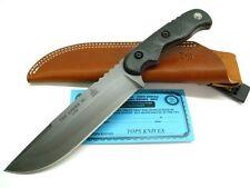 TOPS Black Micarta TEX CREEK XL Fixed Blade Hunting Knife + Sheath! TEX-XL