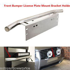 Silver Bull Bar Style Bumper License Plate Mount Bracket Holder For Work Lights