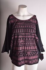 2016 NWT WOMENS METAL MULISHA WING SLEEVE SWEATER $45 S black pink printed
