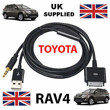 TOYOTA RAV 4 iPhone, iPod reemplazo de cable USB y AUX 3.5mm en Negro