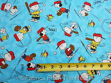 Peanuts Snoopy Charlie Brown All Stars Baseball BONK!  BY YARDS QT Cotton Fabric