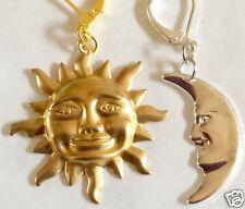 Sol y la luna grande de oro y plata tono pendientes para orejas perforadas