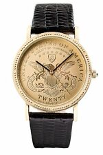 HOT! Rare NIB Liberty By Conqueror $20 Coin Gold Mens Watch Black Leather Band