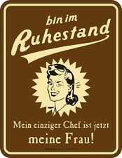 Metal sign Superannuated - Chef ist My wife Fun Sign Aluminum Embossed Printed