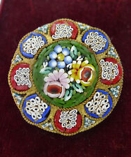 Antique Micro Mosaic Brass Brooch 3.5cm