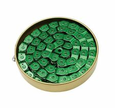 """Gusset Slink Chain 3/32"""", 1/2"""" X 3/32"""" 102L, Slotted Cranked Links -  Green"""