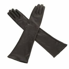 Women's/Ladies' Long Soft Artificial Leather Gloves--Black New