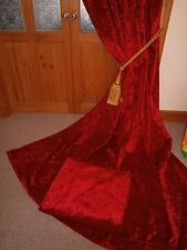 "Huge RED Crushed Cotton Velvet Curtains. 113""Drop - 152""Wide.Fire Retardant."