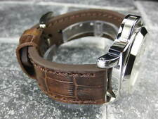 New BIG CROCO 22mm PANERAI Antique Brown LEATHER STRAP Gold watch Band 22