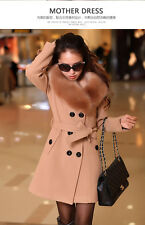 Women's Winter Coat Long Wool Jacket Fur Collar Slim Outwear Trench coat