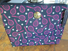 Tommy Hilfiger-Navy/Pink-Tennis Racquet Design-Toiletry Bag-Orig $39-New w/tags