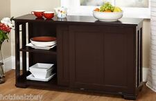 Kitchen Storage Island Cabinet Wood Top Buffet Cupboard Counter Utility Table