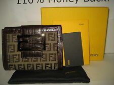 $550 NEW FENDI Brown FF Logo Leather Bifold Credit Card Case Coins Purse Wallet
