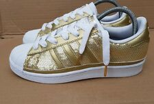 GORGEOUS ADIDAS SUPERSTAR SHELL TOE TRAINERS SIZE 5 UK GOLD SEQUIN SOLD OUT MINT