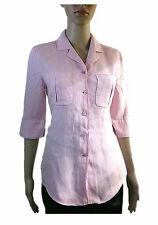 Betty Barclay Womens Pink Linen Business Office Lightwear Shirt Jacket sz 8 AB58