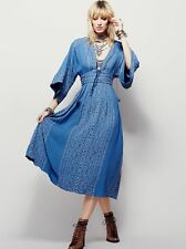 NWT Free People Blue Modern Kimono Maxi Dress 12 $168