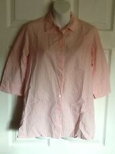 SAKS FIFTH AVENUE REAL CLOTHES Pink & White Striped 3/4 Sleeve Blouse - Size 6