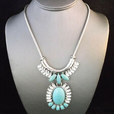 NEW Silver Brighton Bay Turquoise Bead Collar Drop Necklace