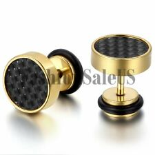 New 9mm Wide Men's Stainless Steel Carbon Fiber Ear Studs Cool Earrings One Pair