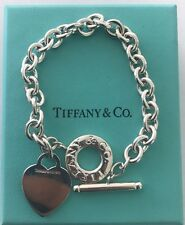 Tiffany & Co. Sterling Silver Heart Tag Toggle Bracelet 7.5""