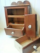 Primitive 3 Drawer Scalloped Back Wood Spice/Apothecary Cabinet Box Cupboard