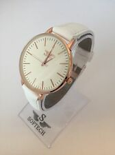 Rose Gold & White Tone Designer Ladies Watches Women Softech Quartz Wrist Watch