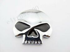 Custom Chrome Skull Emblem Decal Punisher Harley Davidson Chopper Fuel Gas Tank