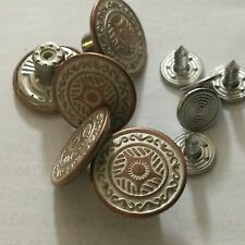 17MM NO SEW HAMMER JEAN BUTTONS X 4 ANTIQUE COPPER WHITE