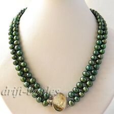 19'' 2Strands 8MM Round Green Freshwater Pearl  Necklace