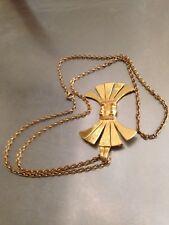 Castlecliff Signed Gold Tone Bow Pendant Necklace Stunning Vintage Long