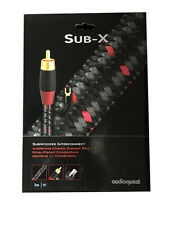 Audioquest Sub-X, 3 meter Mono Audiophile Subwoofer RCA Interconnect Cable - NEW