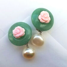 carved natural jade pink conch shell rose flower pearl clip on earrings k drama