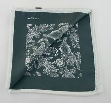 NEW KITON SILK POCKET SQUARE DARK GREEN PAISLEY PRINT $215 ITALIAN LUXURY