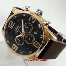44mm parnis black dial golden case week Full chronograph quartz mens watch P603