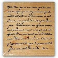 French Script - Lords Prayer mounted rubber stamp #22