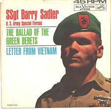 SSgt. BARRY SADLER--PICTURE SLEEVE + 45--(BALLAD OF THE GREEN BERET)---PS--PIC--