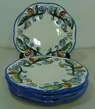 FITZ & FLOYD RICAMO 4 BREAD PLATES SCALLOPED GREEN LEAVES BLUE ORANGE VINES EUC